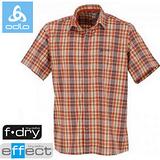 【瑞士 ODLO】男款 銀離子抗UV短袖快乾格子襯衫.吸濕排汗衣.休閒上衣/ 523042 橘紅格