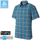 【瑞士 ODLO】男款 銀離子抗UV短袖快乾格子襯衫.吸濕排汗衣.休閒上衣/ 523042 寶藍格