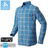 【瑞士 ODLO】男款 銀離子抗UV長袖快乾格子襯衫.吸濕排汗衣.休閒上衣/ 523032 寶藍格