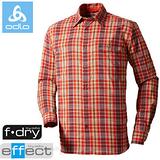 【瑞士 ODLO】男款 銀離子抗UV長袖快乾格子襯衫.吸濕排汗衣.休閒上衣/ 523032 橘紅格