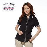【FANTINO】滾邊設計百搭純棉襯衫(黑) 374113