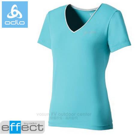 【瑞士 ODLO】女新款 銀離子V領抗UV短袖T恤.吸濕排汗衣.運動上衣/ 347291 淺藍