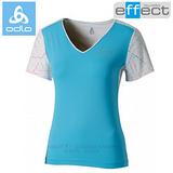 【瑞士 ODLO】女新款 銀離子V領抗UV短袖T恤.吸濕排汗衣.運動上衣/ 347291 藍白