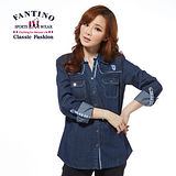 【FANTINO】休閒長版牛仔襯衫(藍) 374117