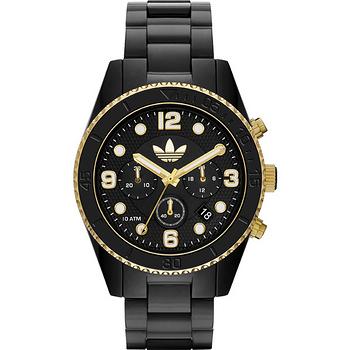 adidas Brisbane 三葉草運動計時腕錶-黑x金框 ADH2948