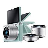 SAMSUNG NXF1 mini 雙鏡組+原廠白色皮質鏡頭盒(公司貨).-加送micro SD16G+相機包+專用鋰電池+清潔組+保護貼+讀卡機+小腳架