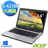Acer V3-472G-69TN 14吋 第四代 i5-4210U 獨顯2G Win8.1 美感效能筆電 銀