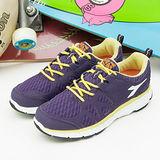 【女】DIADORA 輕量慢跑鞋 台灣製造 EASY RUN 紫黃 9207