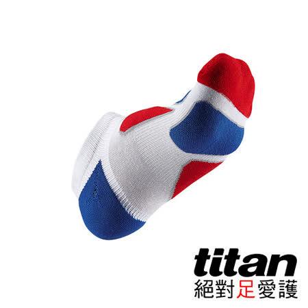 Titan功能慢跑裸襪-Fit[白/紅/藍]