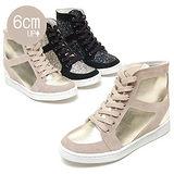 【KOREA首爾OL】經典亮色皮質內增高高筒休閒鞋 增高6公分 金色(5980-0054)