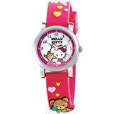 Hello Kitty 愛的抱抱俏皮小熊腕錶-紅