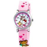 Hello Kitty 愛的抱抱俏皮小熊腕錶-粉紅