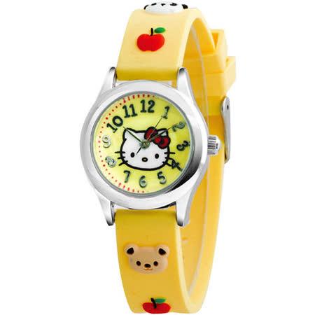 Hello Kitty 蘋果樂園俏皮腕錶-黃