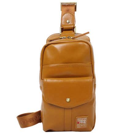【THINK PINK】拿鐵 II 系列 時尚皮感 單肩背包(棕)