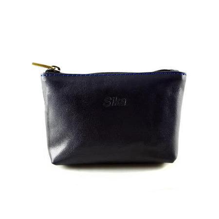 Sika - 義大利時尚真皮拉鍊零錢包A8228-06 - 清玉藍