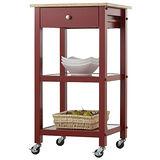 (隨意風情)紅色雙層單抽活動邊桌/餐櫃/展示櫃