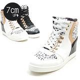 【KOREA首爾OL】動感豹紋內增高高筒休閒鞋 增高7公分 白色(5980-0059)