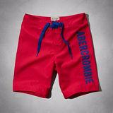 A&F 2014男時尚品味標誌貼布紅色泳褲【預購】