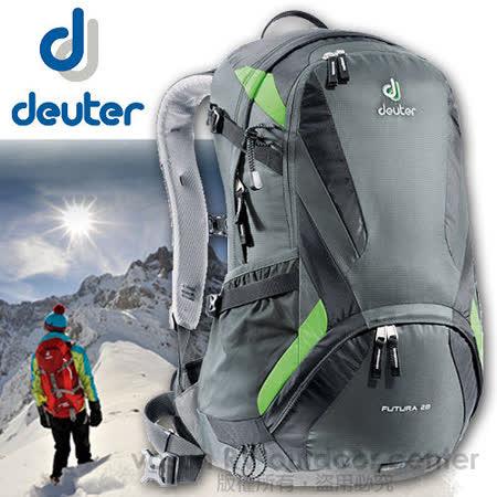 【德國 Deuter】Futura 28 輕量 網架式透氣背包.單車背包.登山背包.露營背包/34214 黑/綠
