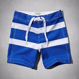 A & F 2014 男時尚菲爾普斯彈力藍白條紋泳褲【預購】