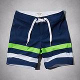 A & F 2014 男時尚恆基湖彈力藍白綠條紋泳褲【預購】