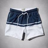 A & F 2014男時尚簡緻寶藍白對稱泳褲【預購】