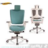 【Merryfair】WAU 2時尚運動款機能電腦椅(OA布)-湖藍白框
