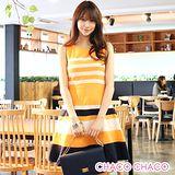 預購【CHACO韓國】復古海洋風配色條紋無袖連身洋裝CLEB-O-34(橘色S/M/L)