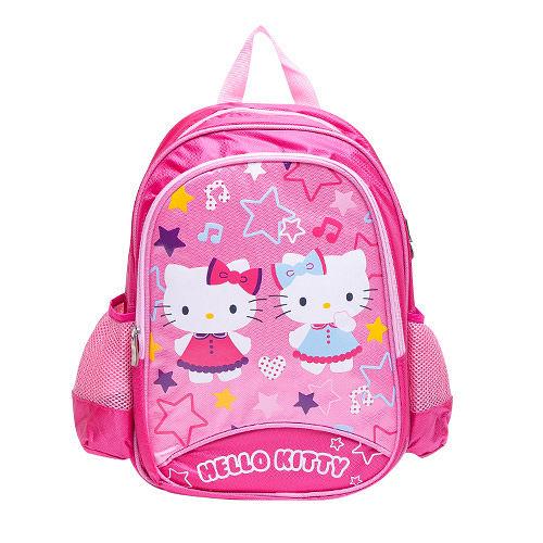 DF 童趣館 ~ Hello Kitty 超 凱蒂貓雙側網袋透氣雙肩後背包書包