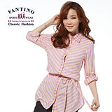 【FANTINO】對比斜紋長版休閒上衣(粉) 274201