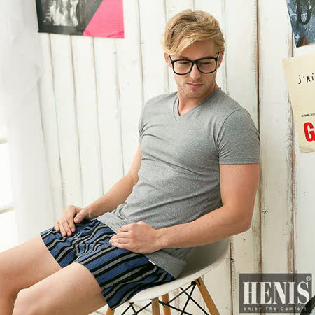 【HENIS】 時尚型男超彈性快乾棉彩色V領短袖衫~3件組