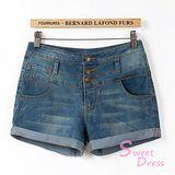 韓版限定【Sweet Dress】反摺設計牛仔短褲