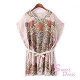 韓版限定【Sweet Dress】蟠紋設計蝙蝠袖洋裝(共二色)