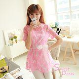 韓版限定【Sweet Dress】兩件式縷空蕾絲娃娃衫