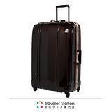 《Traveler Station》CROWN MASTER 29吋輕量髮絲紋鋁框拉桿箱-珠光咖啡色