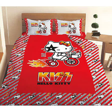 【HELLO KITTY】凱蒂貓KISS熱火單人床包組-奔馳腳踏車篇