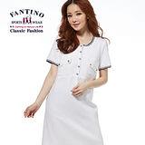 【FANTINO】法式簡約修身洋裝(白、丈青) 372101-102