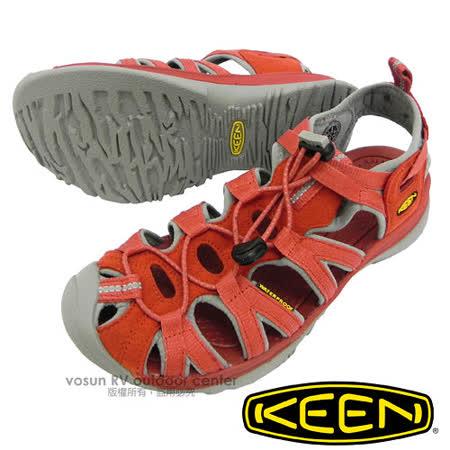 【美國 KEEN 】女新款 Whisper 專業護趾涼鞋/水陸兩用鞋.沙灘鞋.安全鞋_灰/橘紅 1010960