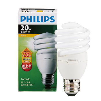 飛利浦 T2螺旋省電燈泡-黃光(20W)