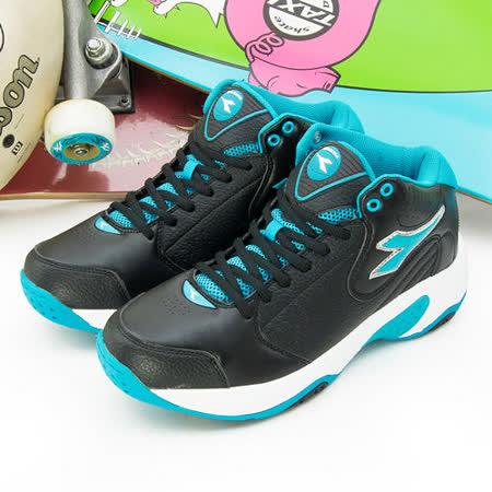 【男】DIADORA 中筒籃球鞋 經典基本款 黑藍 7356