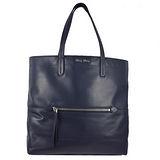 MIU MIU  浮雕LOGO質感超輕全皮革購物包.深藍