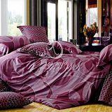 【圓舞曲】雙人純棉四件式涼被床包組(紫)
