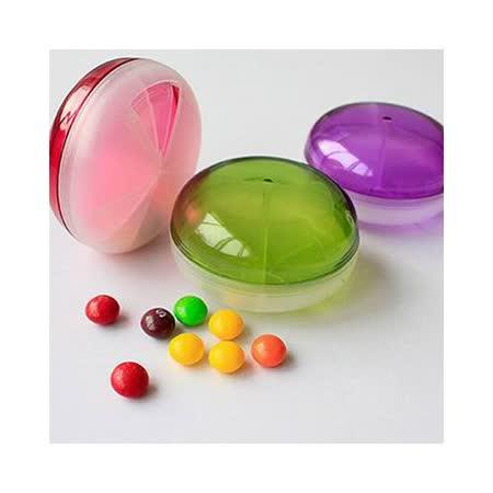 【iSFun】糖果飛碟*透明旋轉藥盒/紫+隨機色