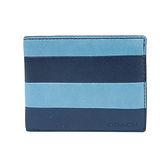 COACH BLEECKER 雙色拼接真皮短夾(附透明卡夾)(藍)