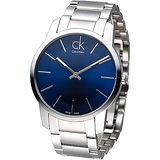 CK 經典大表徑鋼帶男腕錶-藍K2G2114N