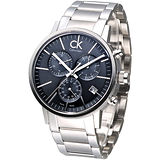 CK 競速玩家經典3眼計時腕錶-灰K7627161