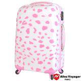 【法國 奧莉薇閣】24吋粉紅派對PC輕量鏡面 旅行/行李箱(粉雪紛飛)