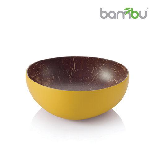 ~Bambu~南洋椰子殼迷你小圓碗 ~ 芥茉黃
