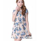 【公主衣櫃 中大尺碼】2612印花雪紡洋裝(藍色)