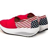 【Maya easy】美國色 運動款 布鞋系 心機鞋 厚底鞋 休閒搖擺鞋(鞋跟5cm高)